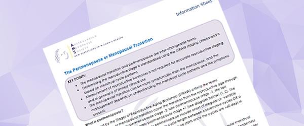 perimenopause information sheet
