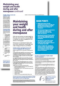 Maintaining your weight and health during and after menopause