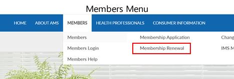Members menu drop down