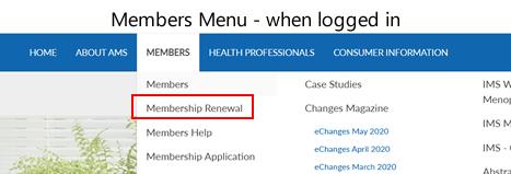 Members menu logged in view