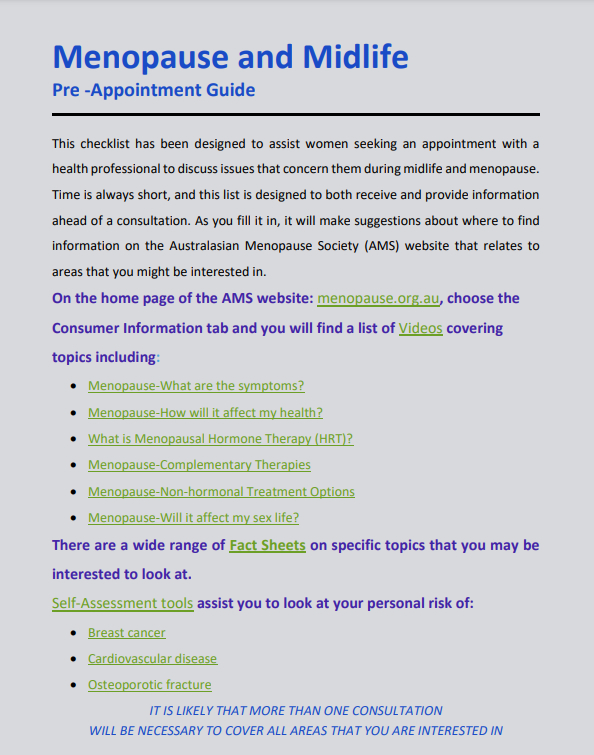 Menopause and Midlife Appointment Guide 1