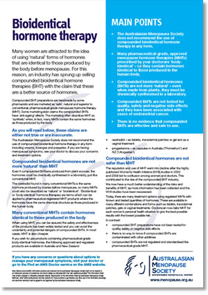 Bioidentical hormone therapy fact sheet