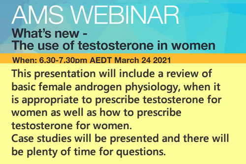 AMS Webinar What's new The use of testosterone in women